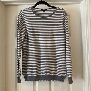 XL Anne Klein Gray White Striped Sweater